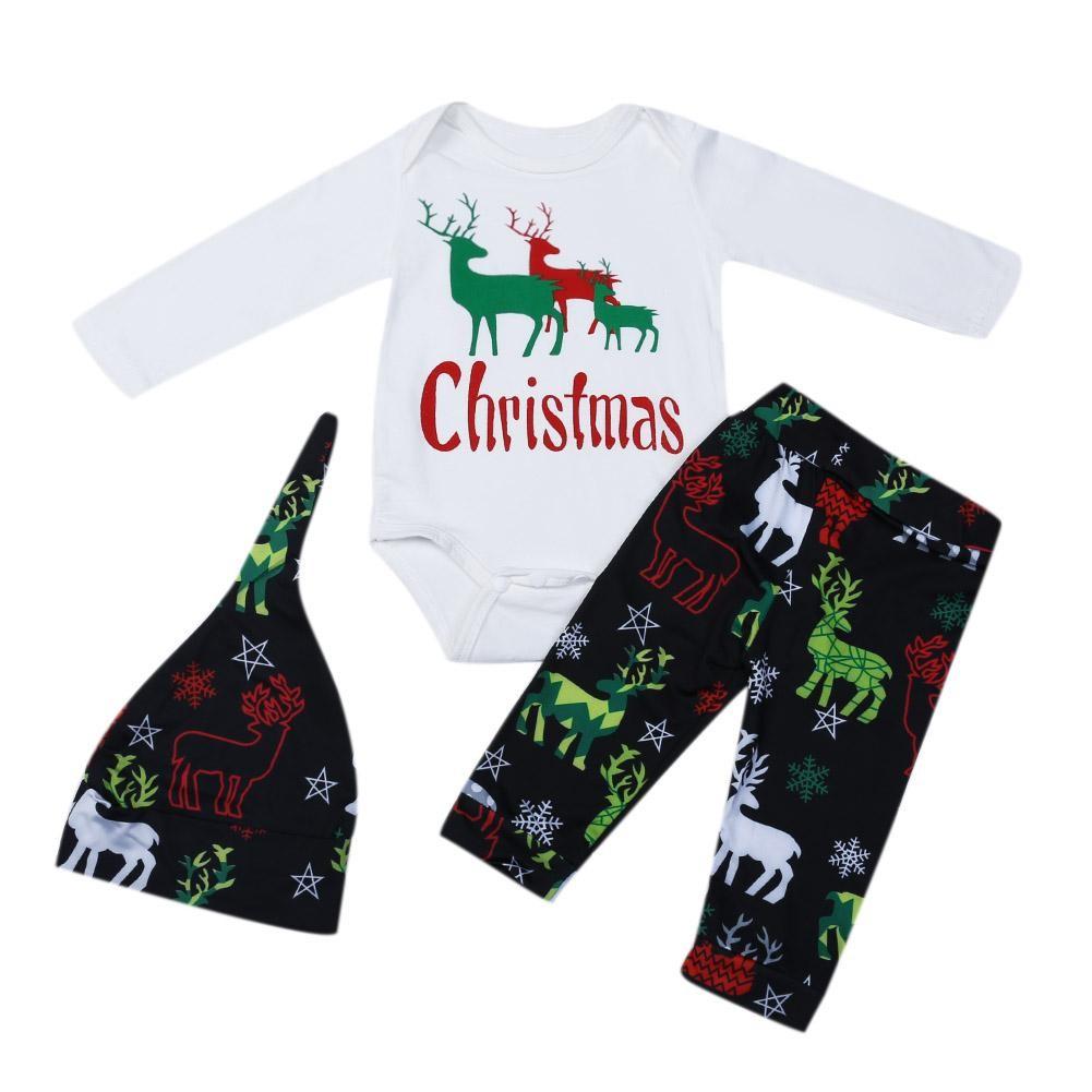 2b300b9f983fa ProductImage. ProductImage. mer!Christmas Baby Elk Deer Print Long Sleeve  Romper + Pants ...