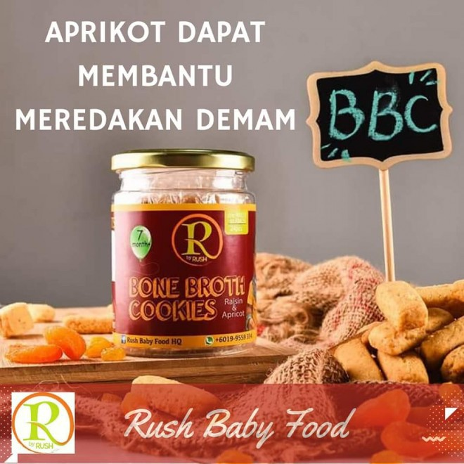BONE BROTH COOKIES - APRICOT / DATES / AVOCADO CHEESE FLAVOUR BY RUSH BABY (8M+)