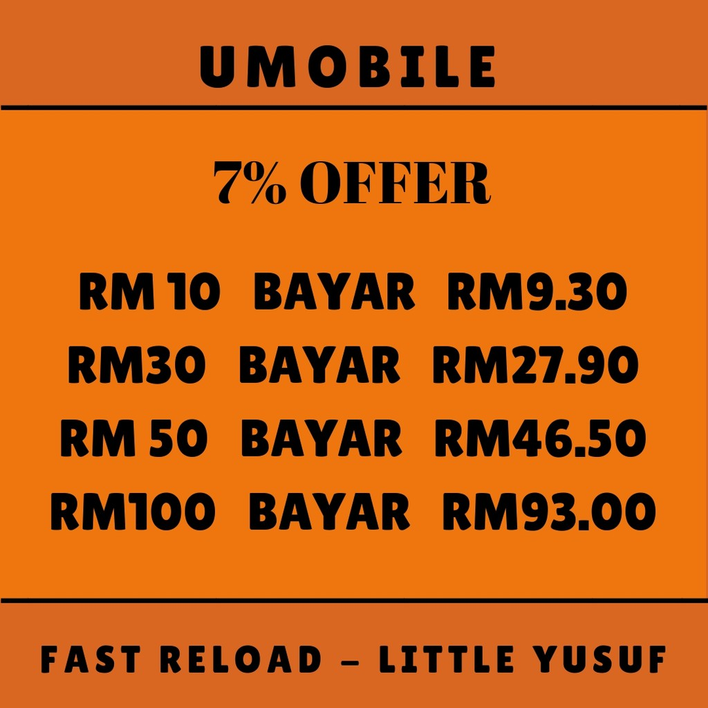 [7% OFFER] Umobile Postpaid bill/Prepaid Top Up Reload RM10,RM30,RM50,RM100
