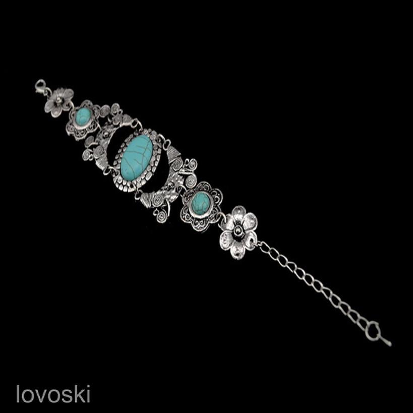 Beautiful retro Tibetan woman turquoise hidden silver bracelet gift F