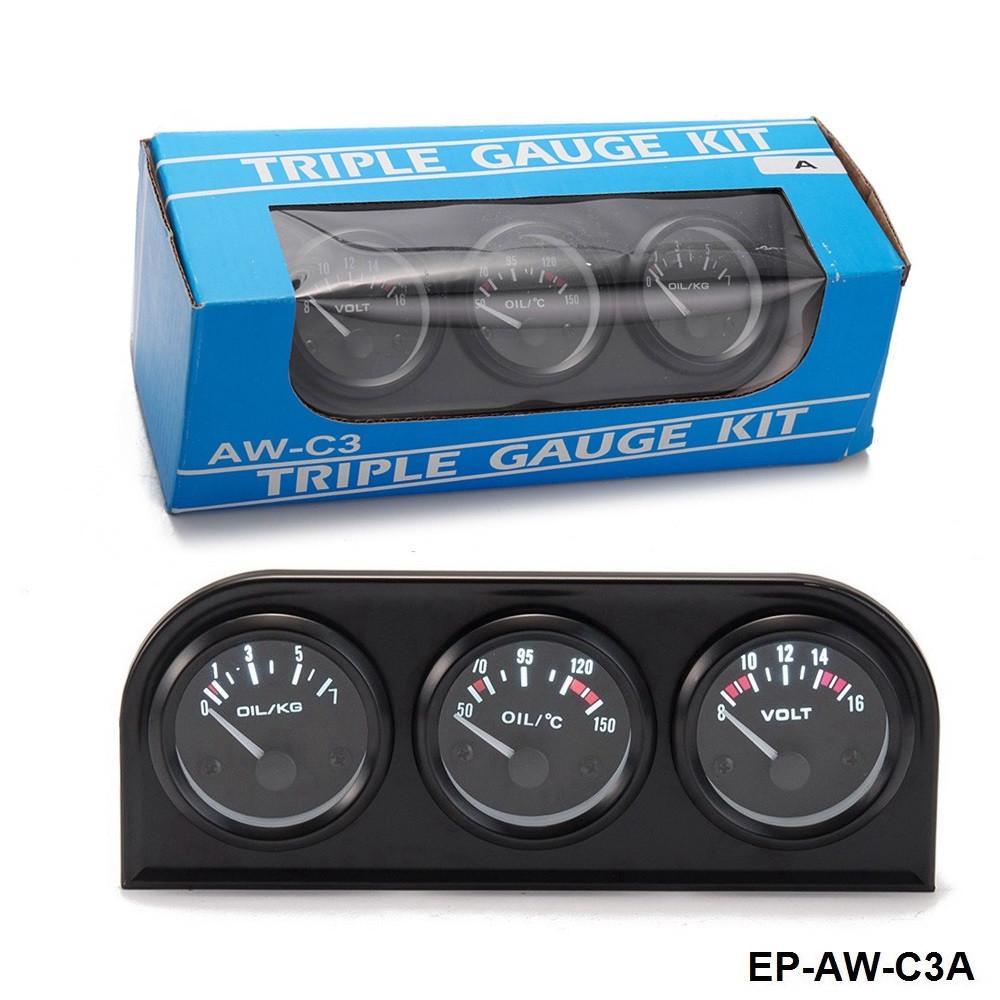 2/'/' 52mm Oil Pressure Gauge Oil Temperature Meter Voltmeter Triple 3 in1 Kit