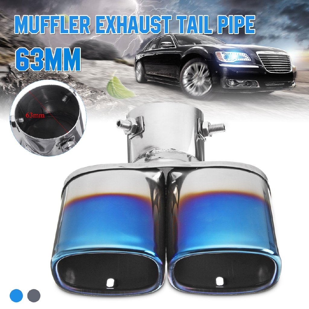 63mm Car SUV Modification Grilled Stainless Steel 2 Dual Pipe Exhaust Pipe Cover