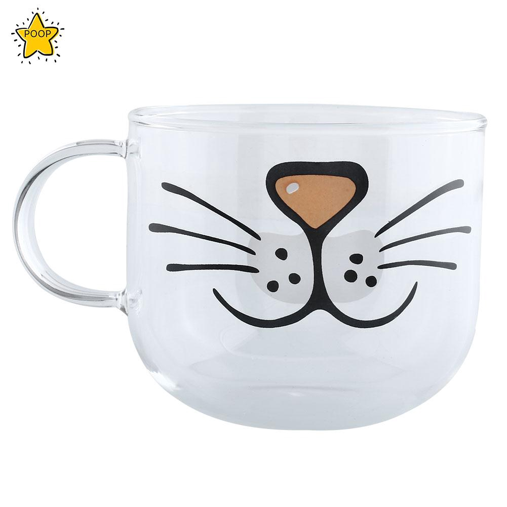 Coffee Mugs Glass Mug Cat Clear Transparent Water Tea Hot Coffee Milk Espresso Handle Cup