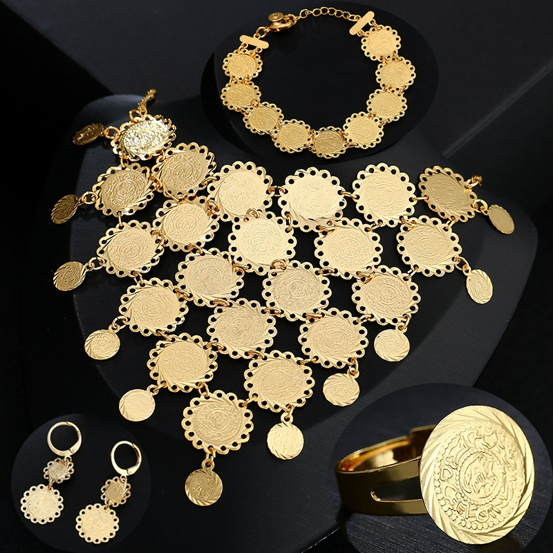5e263895ef18b Arabic coin necklaces, bracelets, earrings, rings, women's suits, brass,  gold-plated wedding jewelry.