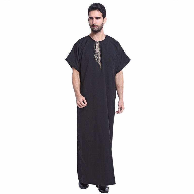 8cd6d2ee53c Men Muslim Islamic gown Arabic Embroidery abaya plus size dubai jubba thobe  Kaftan short sleeve eid clothing VKAB1003 | Shopee Malaysia
