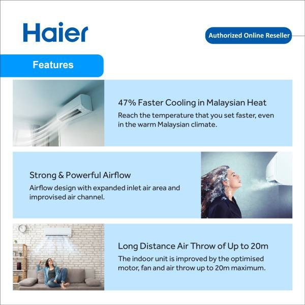 Haier HSU-09LTA17 1.0HP Turbo Cool Non-Inverter Air Conditioner with R410A Refrigerant