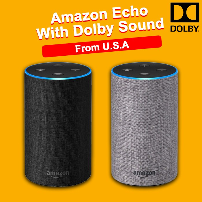 Amazon Echo Speaker with improved sound, powered by Dolby, and a new design