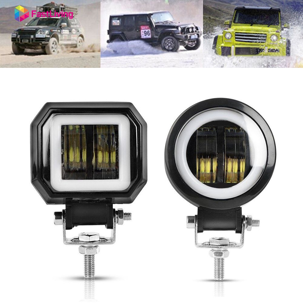 1PC 20W Waterproof Round/Square LED Angel Eyes Light Bar Spot Light  Motorcycle Offroad Car Boat Led Work Light Fast