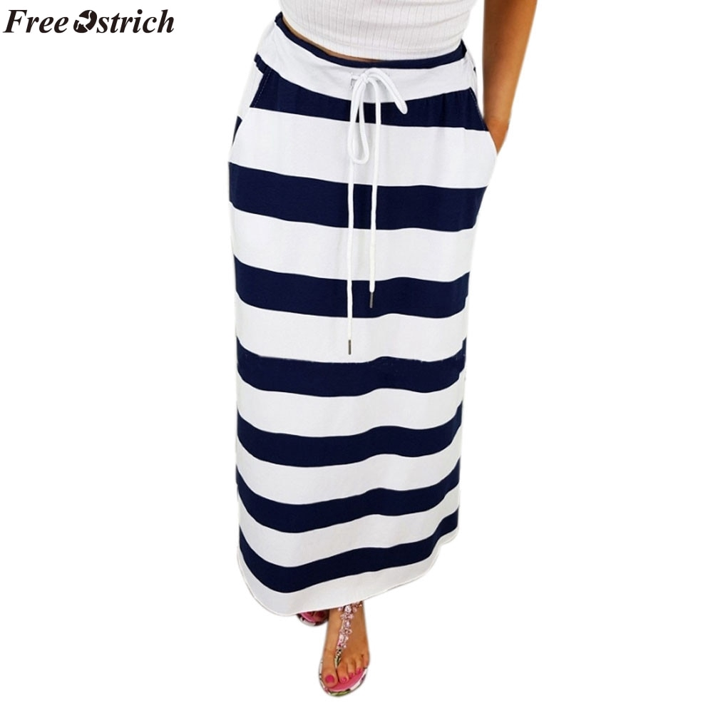 b21beab948973 2019 pencil skirts womens Fashion Stripe Hight Waist Maxi Long Skirt  fashion plus size womens skirts