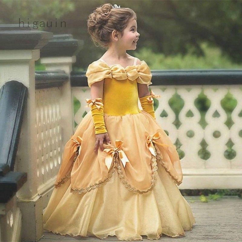adaa6e079cd12 Girls Fancy Dress Belle Princess Formal Party Wedding Pageant ...