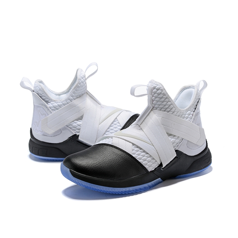 online store 2b8b2 333be Nike Zoom Lebron James Soldier 12 White/Black Bandage Basketball Shoes 1