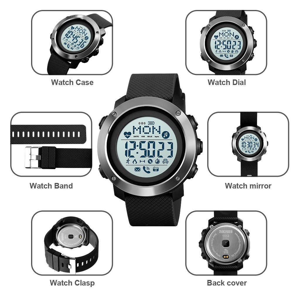 [LOCAL SELLER] SKMEI 1511 1512 High Quality Smart Watch Dynamic Heart Rate Reminder Waterproof Wristwatch Sport Watches