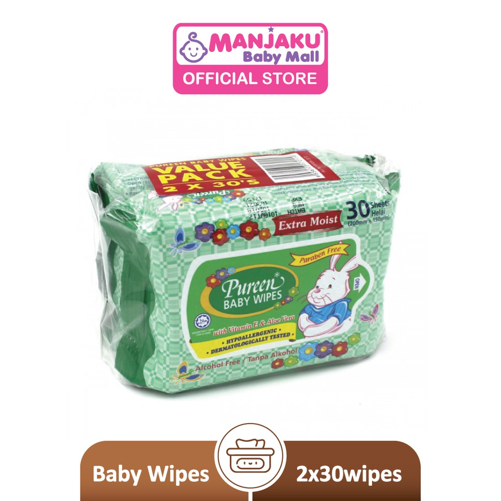 Pureen Baby Wipes - Green (2 x 30's)