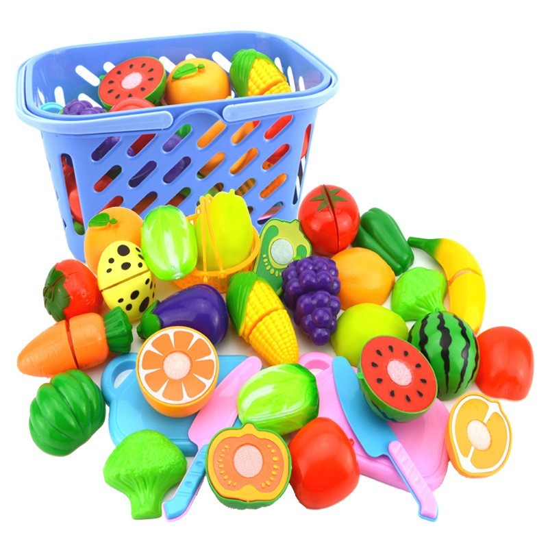 Safety Plastic Kitchen Cooking Toys Food Fruit Vegetable Cutting Toy Kids