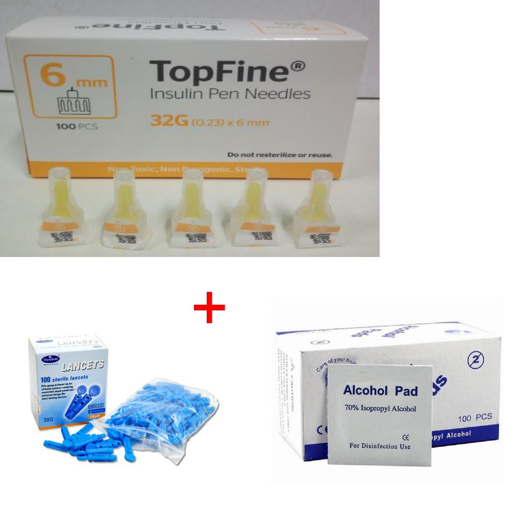 Jarum Insulin 6 mm + Alcohol Pads 100's + Blood Lancet 100's