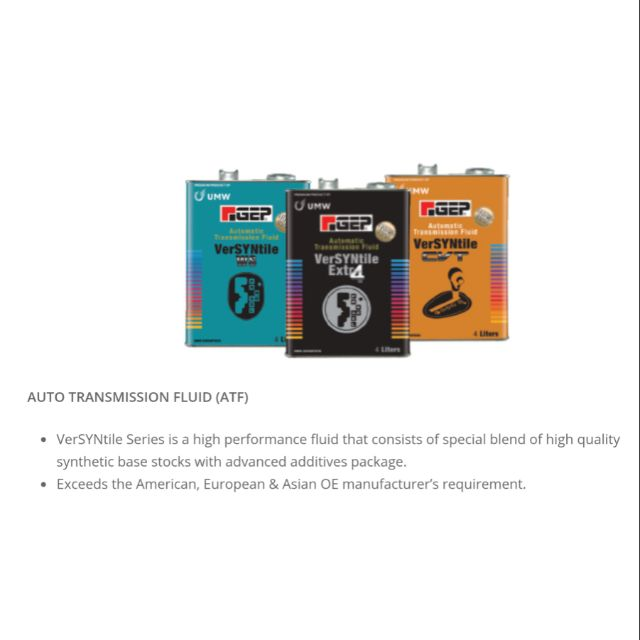 UMW GEP Automatic Transmission Fluid VerSYNtile Extra 4