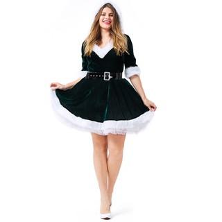 Christmas Fancy Dress.Hot Women Santa Claus Costume Adult Sexy Outfit Christmas Fancy Dress Xmas Green