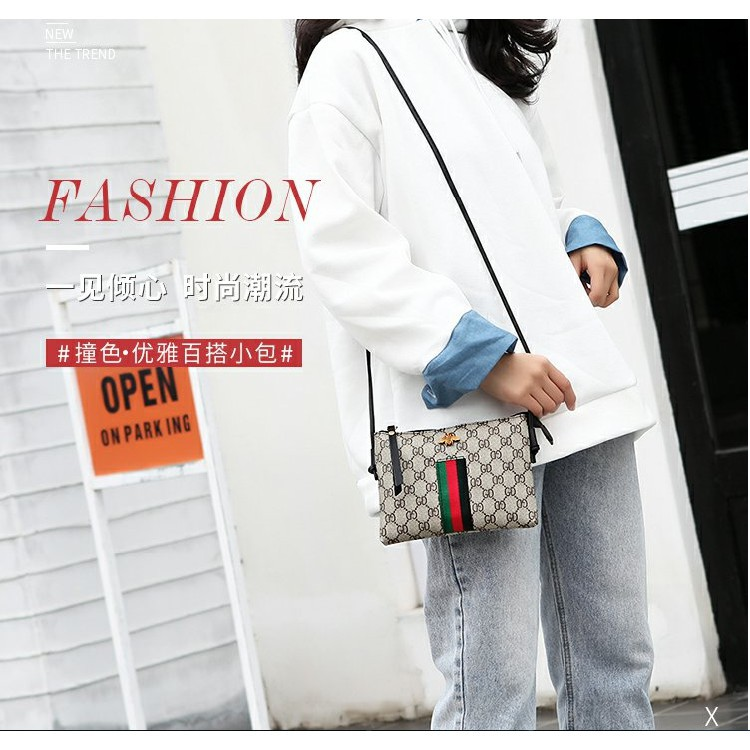 EVON PREMIUM SB015 GC BEE NEW ELEGANT RETRO CLASSIC DESIGNATED SLING BAG PU LEATHER BIG CAPACITY HANDBAG WATERPROOF