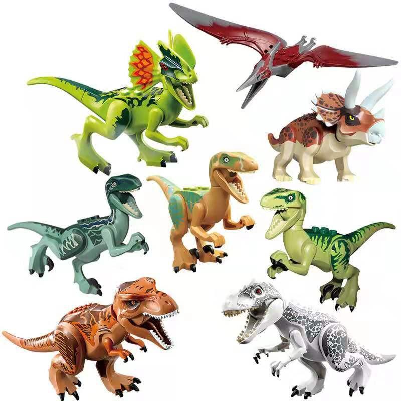 8 PCS Dinos fit Jurassic World Lego Dinosaur Tyrannosaurus TRex Park Raptor Toy