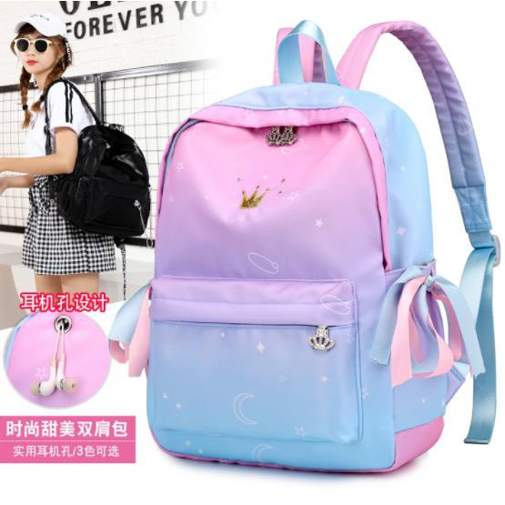 CJH Small Shoulder Bag Female Bag Large High School Student Bag Fashion Trend Leisure Travel Bag Backpack Navy