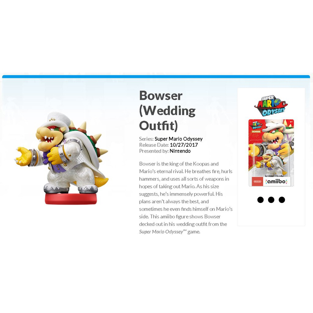 Bowser Wedding Outfit Amiibo For Nintendo Switch Wii U 3ds Super Mario Odyssey