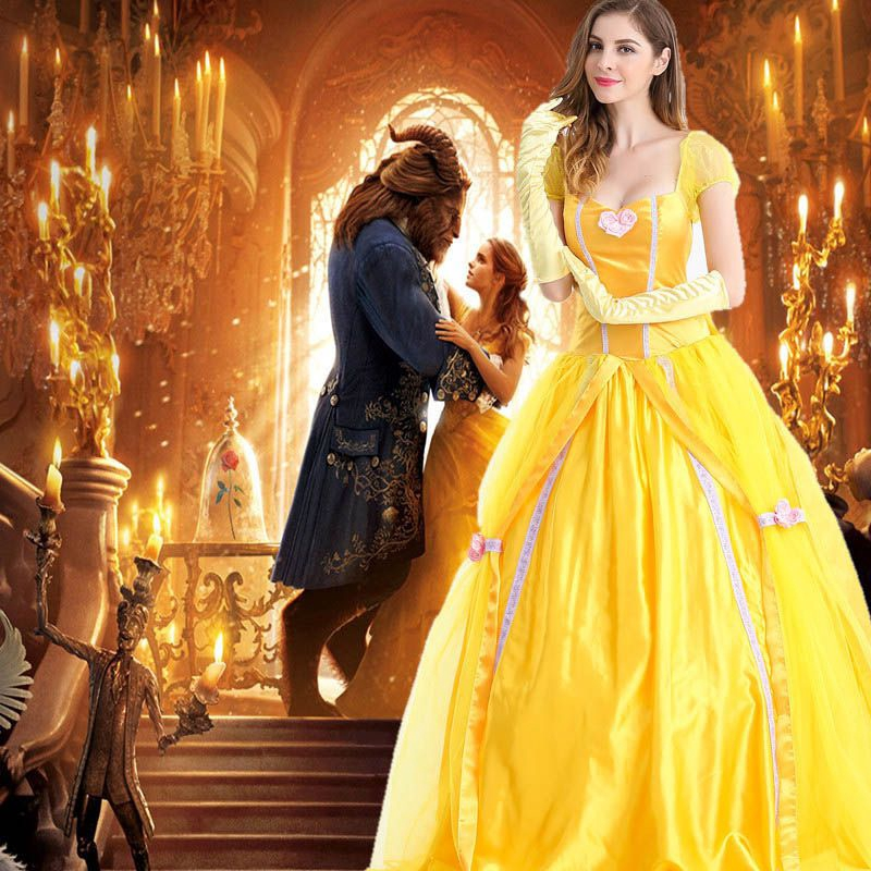 Ladies Beauty and the Beast Princess Belle Costume Party Gown Fancy Dress