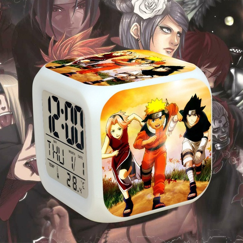HOT Anime Naruto LED Digital Alarm Clock 7 Colors Change Fashion Calendar+Time