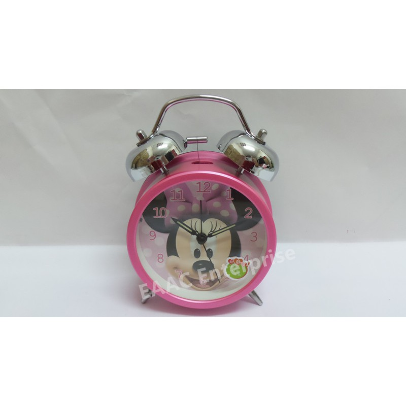 Cute Cartoon Minnie Pink Twin Bell Alarm Clock for Kids
