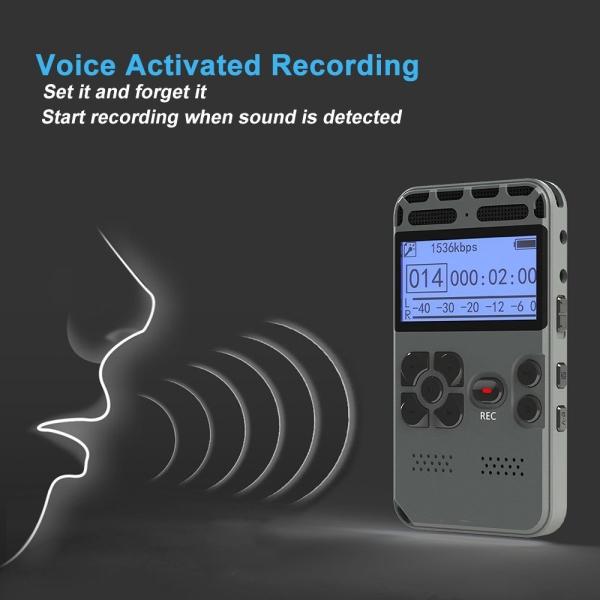 Digital Voice Recorder Audio Recording Dictaphone MP3 LED
