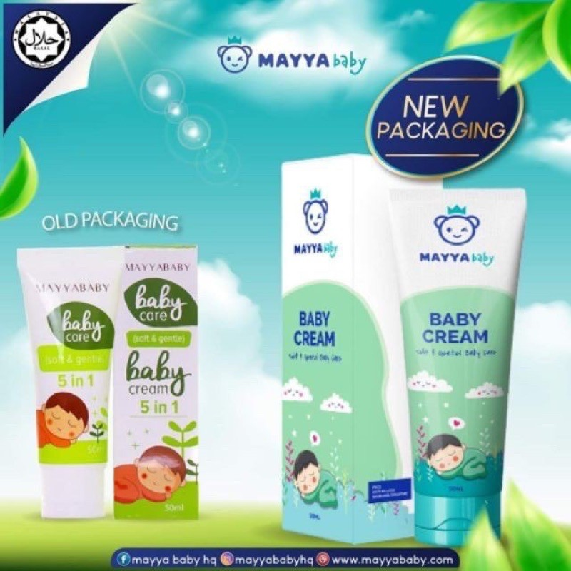 mayyababy cream 5 in 1 new package got box (50ml) ready stock