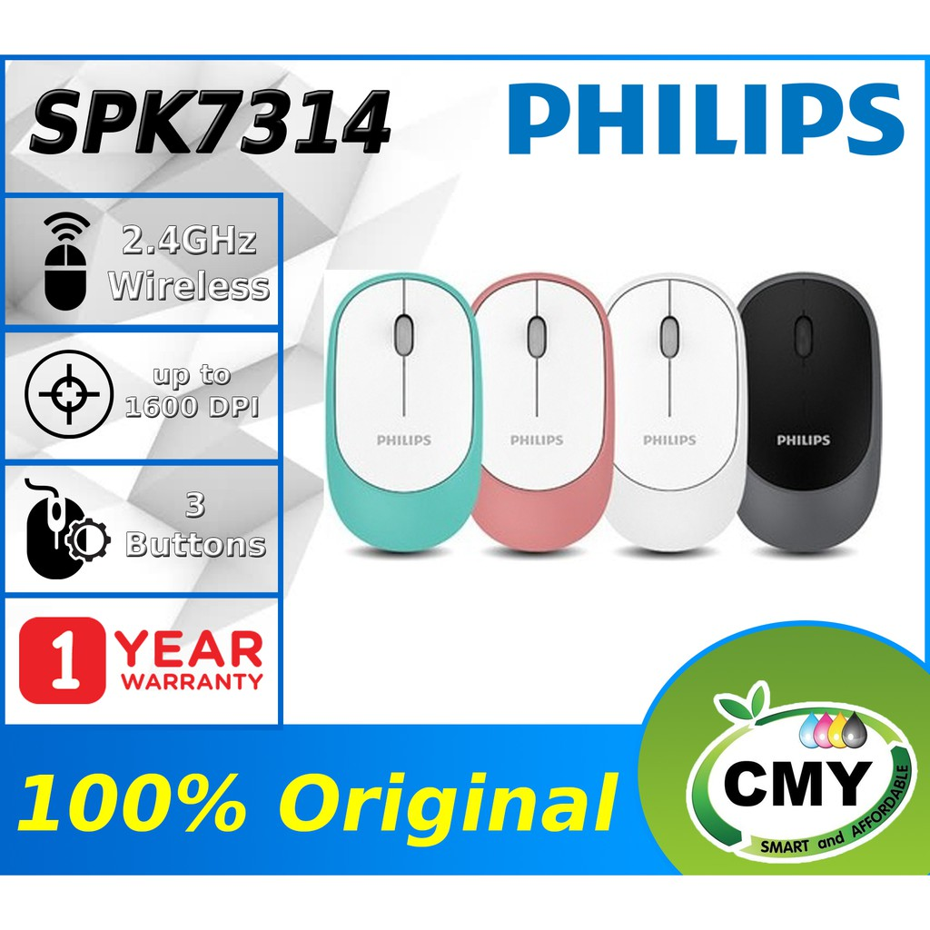 [Shocking Sale] Philips M314 SPK7314 Wireless Mouse 1200 DPI for Laptop PC or Office Quiet & Slim Design W/High-Performance Optical