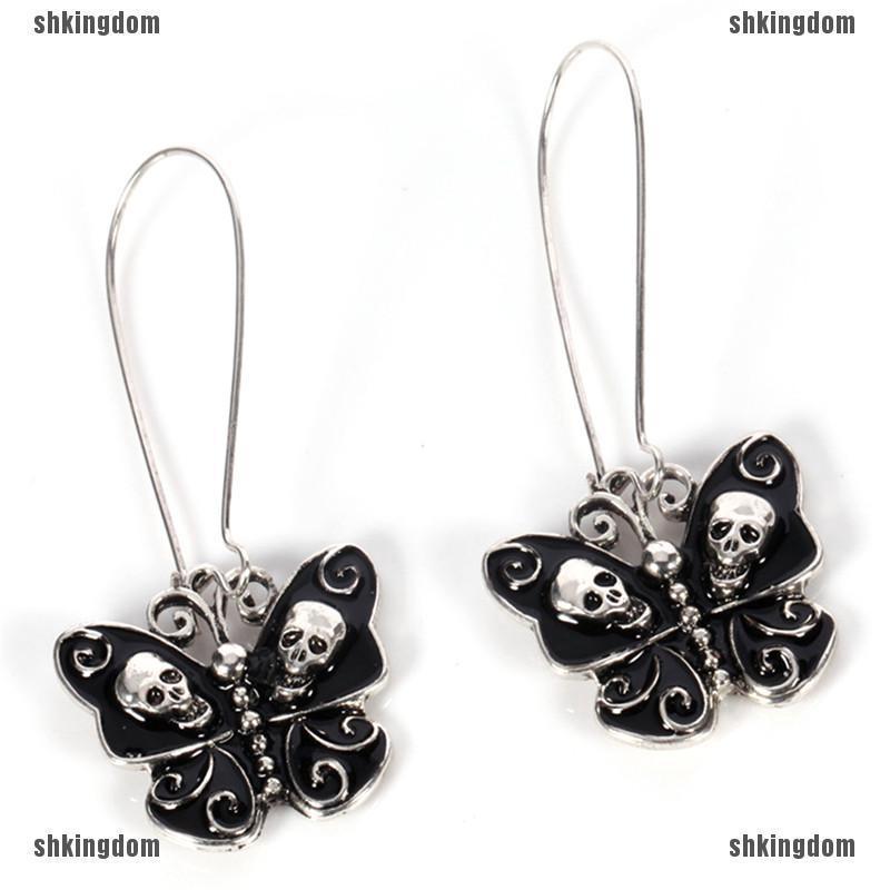 Women Retro Punk Gothic Fashion Jewelry Butterfly Skull Ear Dangle Long Earring