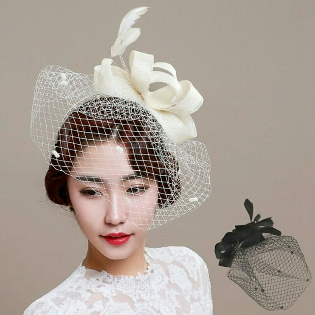 Lady Fascinator Veil Feather Hairclip Hat Lace Net Bridal Wedding Party Headband