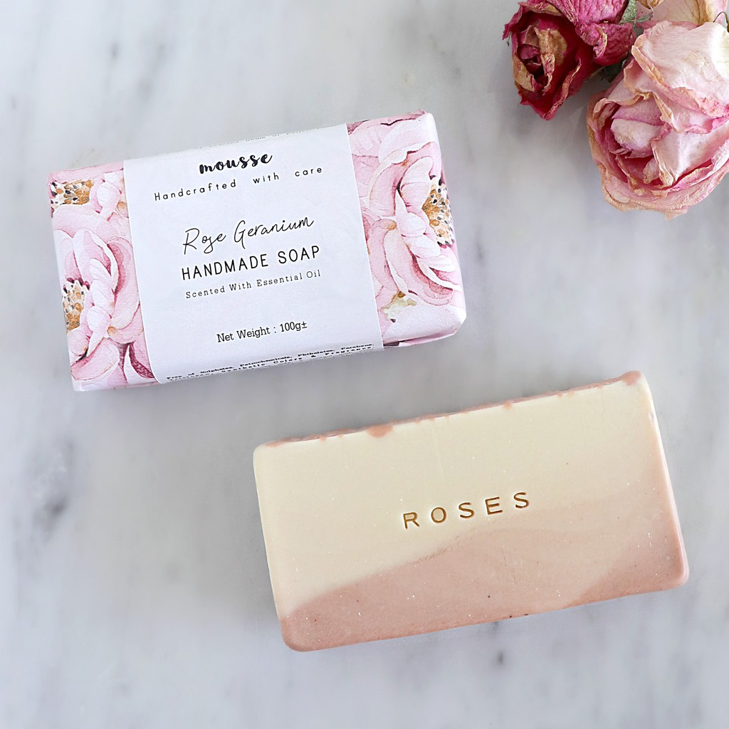 Roses Rose Geranium Pink Clay Handmade Cold Process Soap Scented With Essential Oil Shopee Malaysia