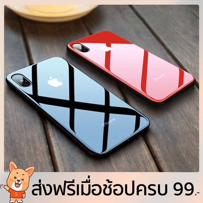 เคส iPhone XS MAX XR X 8 7 6 6s Plus เคสแข็ง TPU Tempered Glass hard case