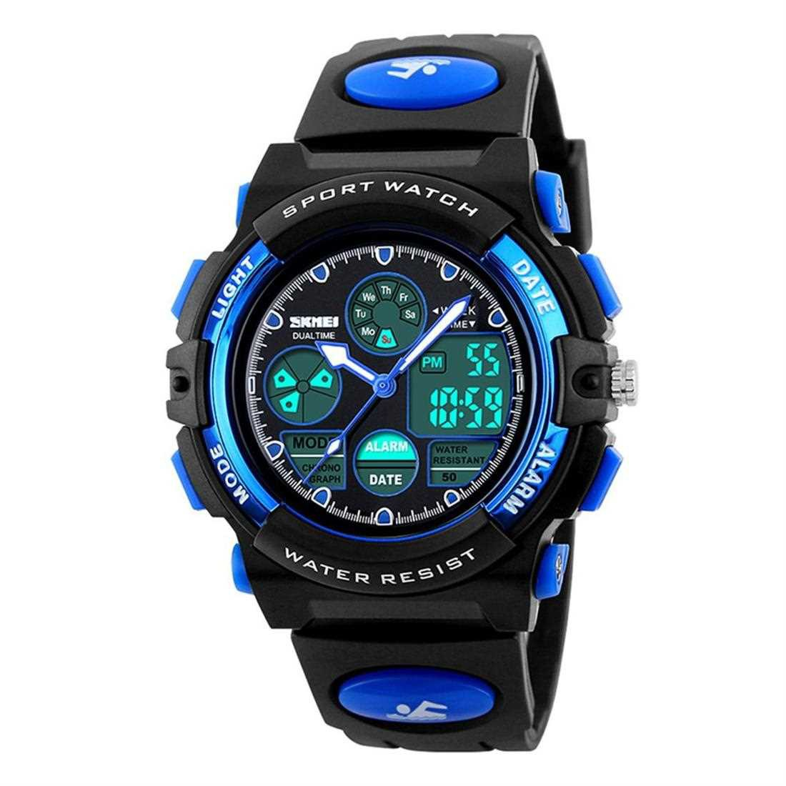 SKMEI Fashion Children Smart Watch LED Display Digital Wristwatch Waterproof (Blue)