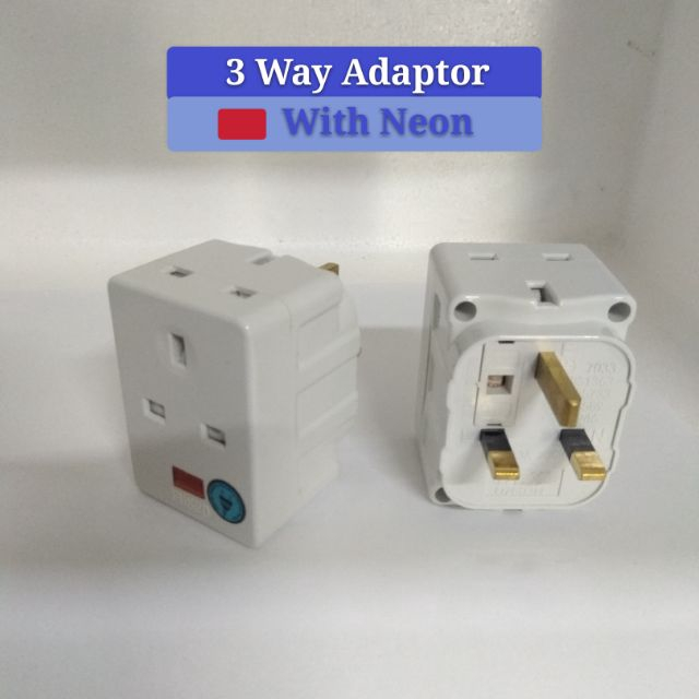 DLX 3 Way Adaptor 3pin plug With Neon