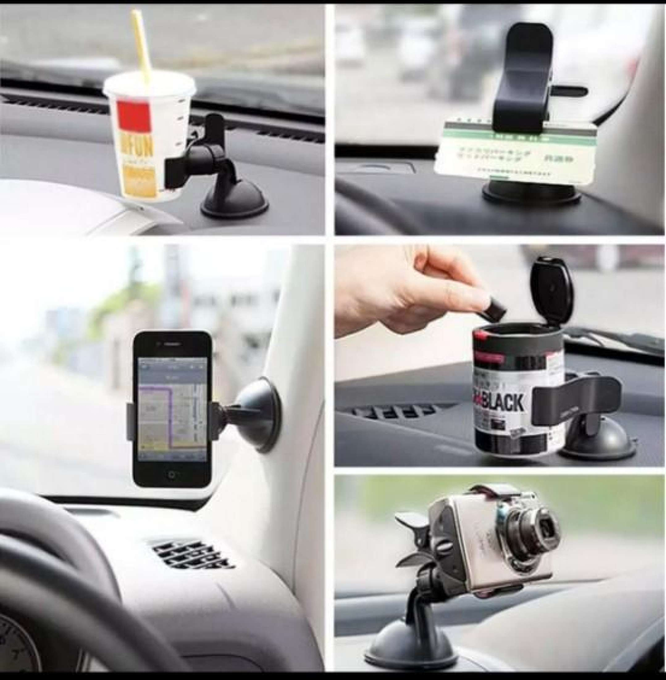 Smart Universal Car Mount Holder Bracket Windshield Suction Cup 360° Rotation Long Arm Dual Clip For Smart Phone