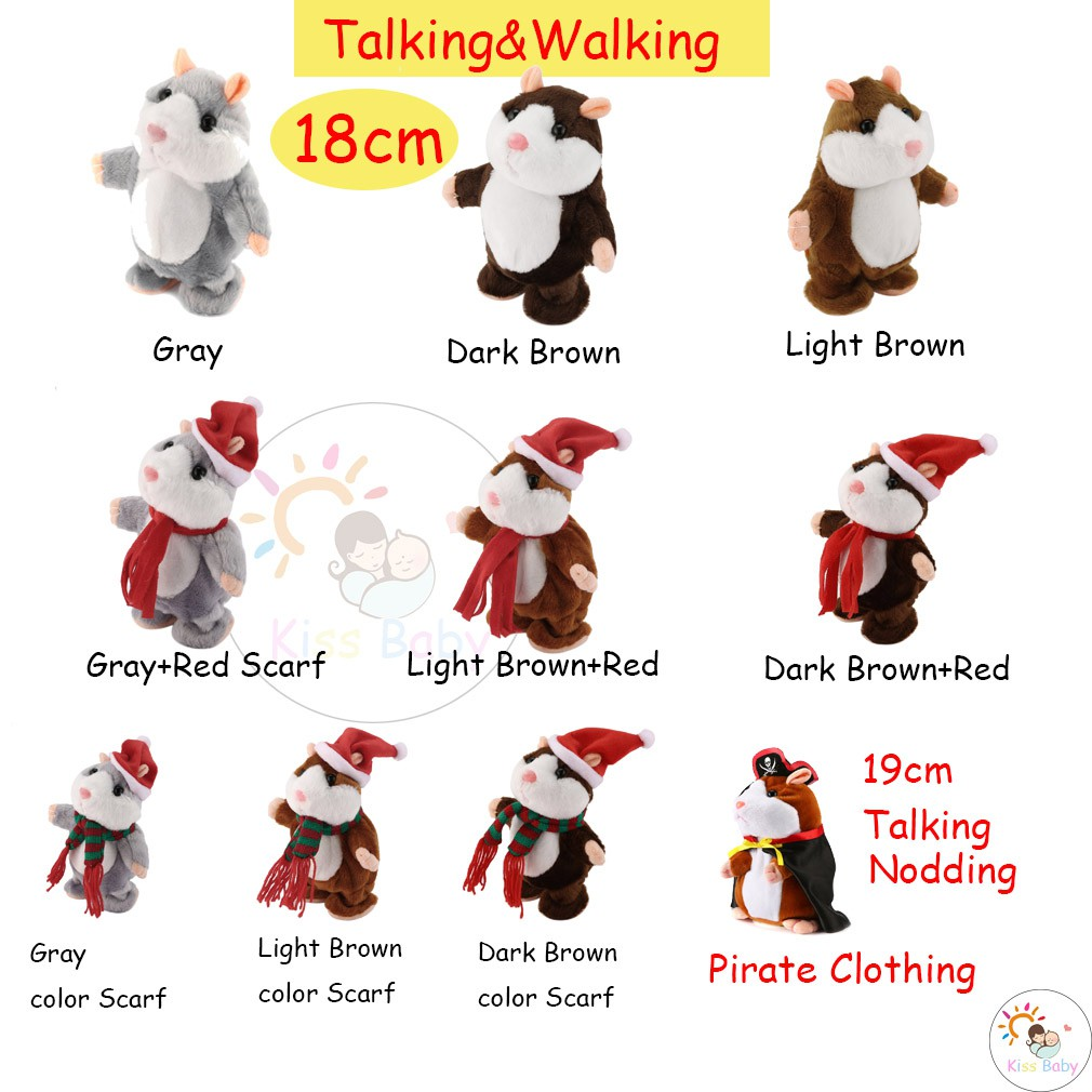 a3e5be30a763 Funny Walking Talking Speaking Nodding Hamster Plush Toy Animal Kids Toy