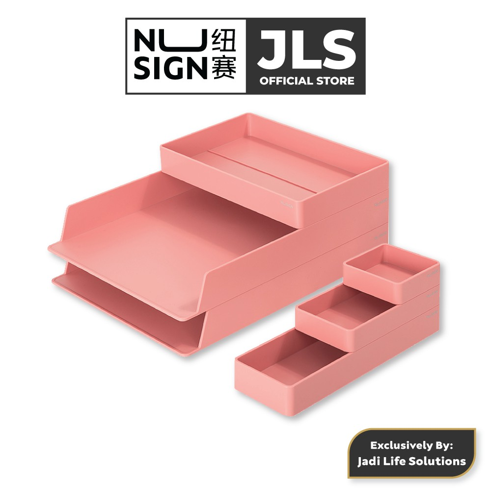 Jadi Nusign 6-Pcs Stackable Desk Organizer in Rose Pink