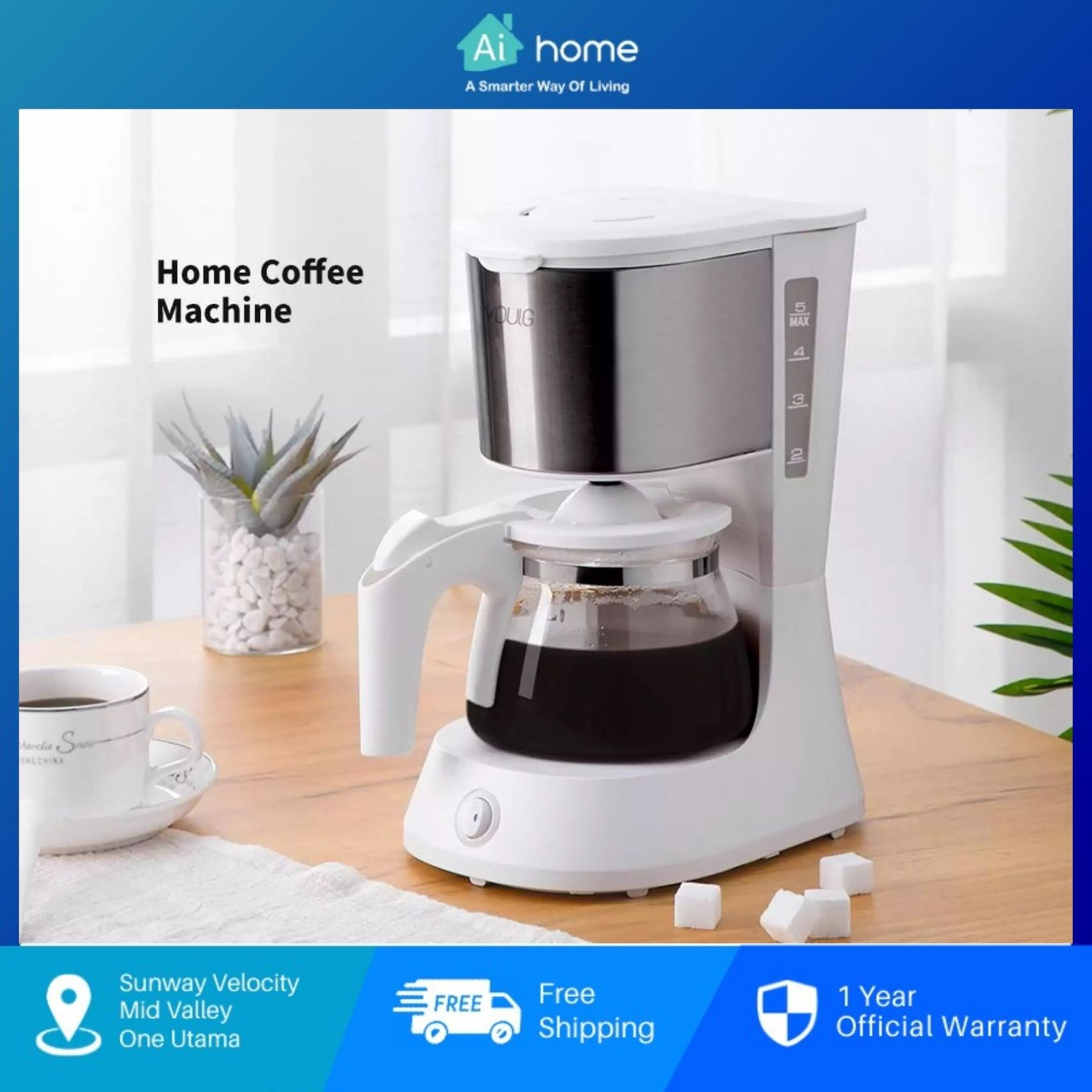 YOULG Pour Over Coffee Maker CF1013 Multi Function with 1 Year Malaysia Warranty [ Ai Home ]