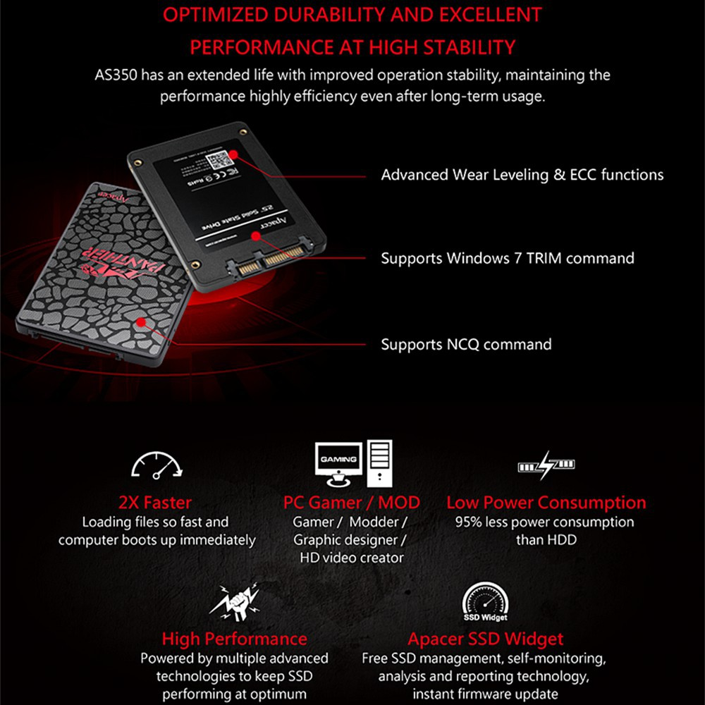 free shipping! APACER 480GB / 240GB / 120GB AS350 2 5