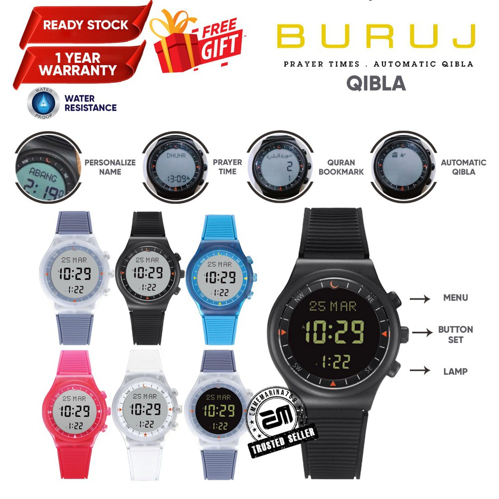 Jam Tangan Azan Solat Digital dan Kiblat Kompass Buruj Watch Qibla Rubber Strap Water Resistant Prayer Clock EMMEMARINA