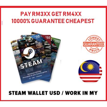 Steam Wallet Code USD50 USD100 Auto Convert to MYR Code Gift Card Topup  RM10 20 30 50 RM100 PUBG Gift Card Code Prepaid