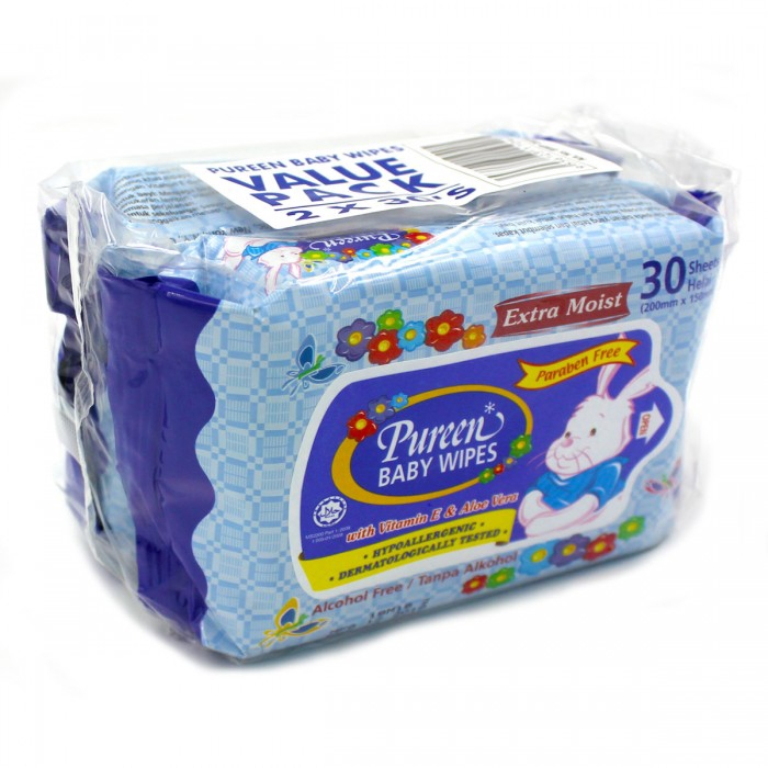 Pureen Baby Wipes Value Pack 30\'s x 2