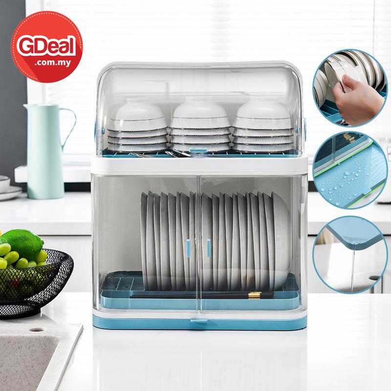GDeal Two Layers Kitchen Dustproof Cupboard With Lid Countertop Drain Dish Rack Rak Pinggan