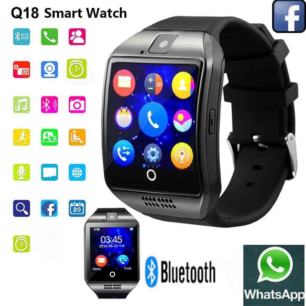 Q18 Smart Bluetooth Watch Touch Screen Phone with SIM Camera NFC for  Android&IOS