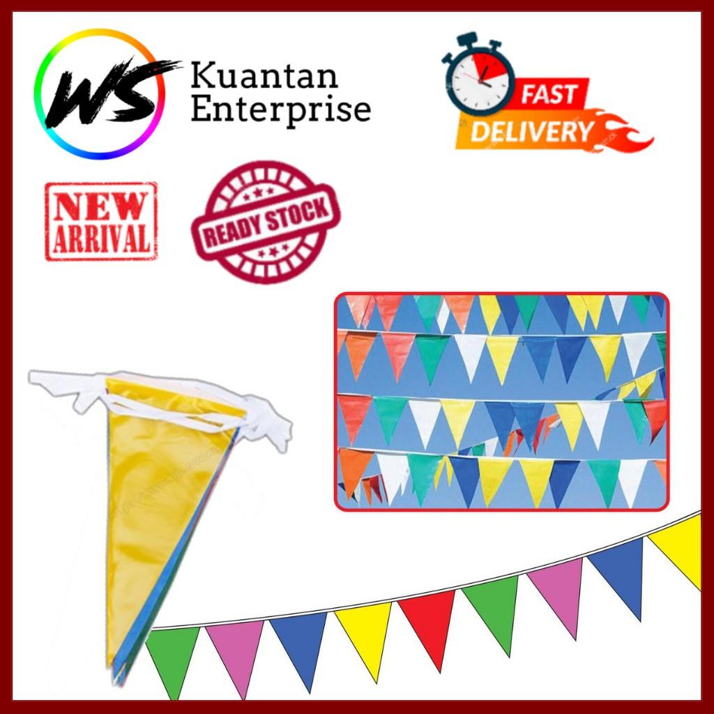 【100% Ready Stock】Multi-Colour PVC Weather Proof Triangle Flag | Bendera Segi Tiga (30m/50m/100m)