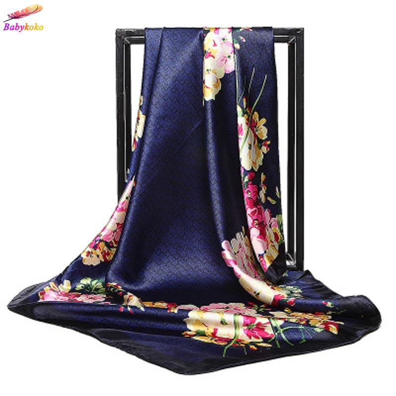 283eccb19b1 Scarf Women Head Hijab Flower Print Satin Square Shawl Wraps 35