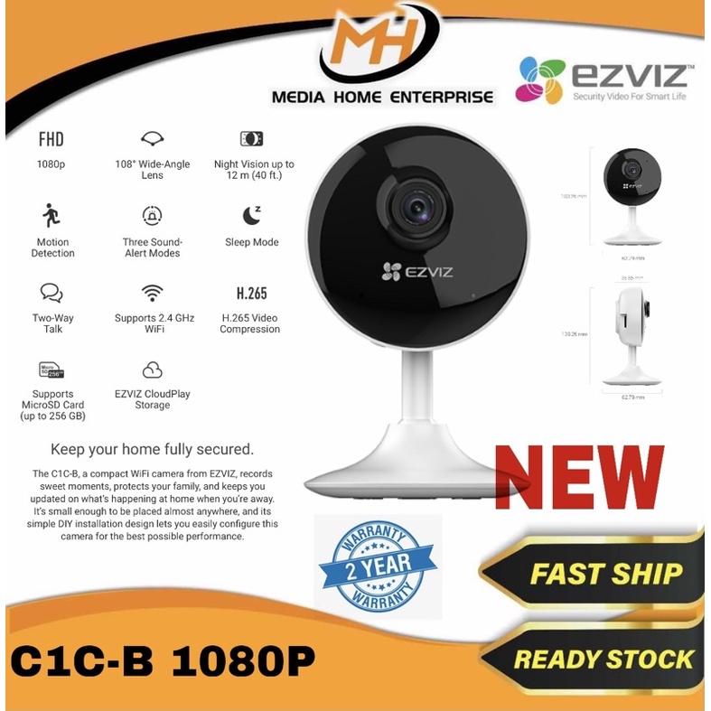 Ezviz C1C-B Indoor Camera - 108 Degree Wide-Angle Lens, 1080p, H.265, Motion Detection